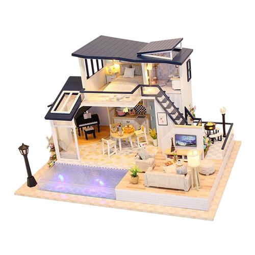 Imagen 1 de 6 de Casa De Muñecas Diy Kit De Madera En Miniatura Con Muebles