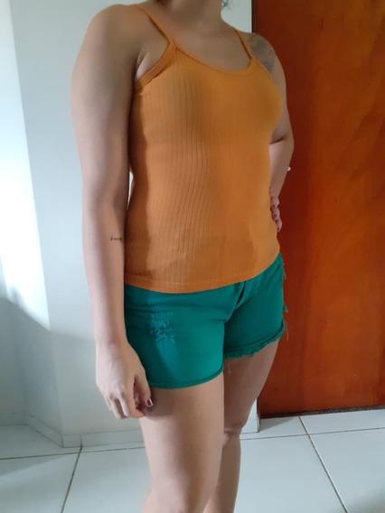 Blusa Camiseta De Alça Canelado
