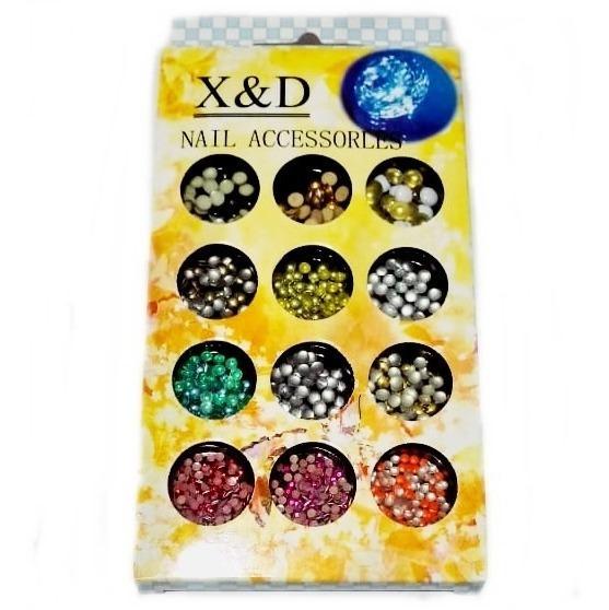 Kit 12 Tipos Pedraria Strass X&d 3d Colorido Unha Decoração