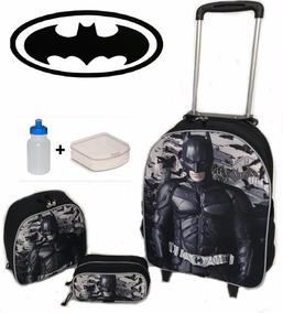 Kit Mochila Batman De Rodinhas + Lancheira + Estojo + Potes