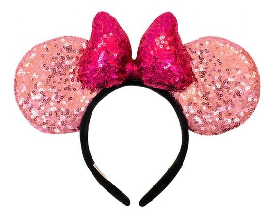 Tiara Laço Roxo Orelhas Rosa Minnie Lantejoulas Disney