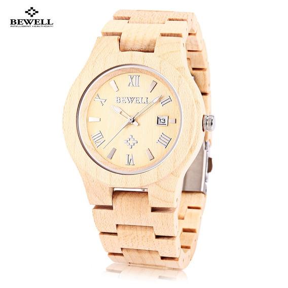 Bewell Zs - W127a Homens Quartz Relógio De Madeira Caso Data