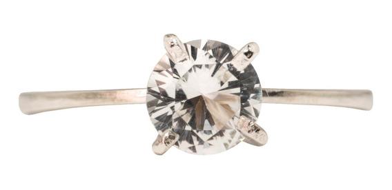 Anel Solitario Prata Pedra Natural Incolor 6mm