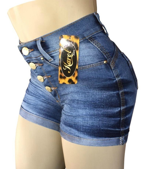 Kit 2 Short Jeans Feminino Cintura Levanta Bumbum Com Elastano Lycra Cós Alto