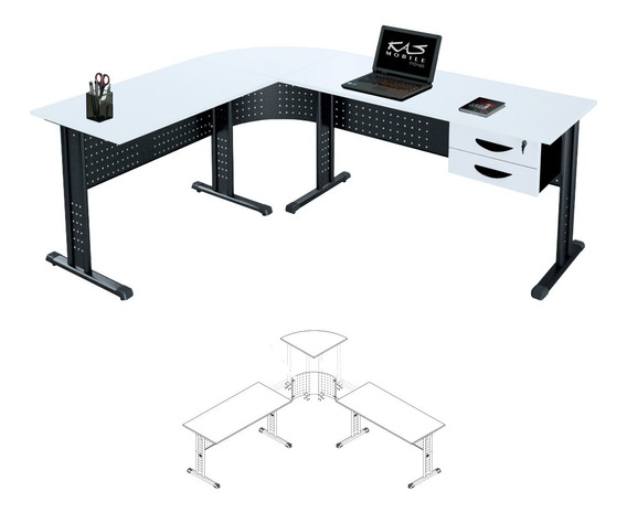 Mesa Em L Para Escritório, Escrivaninha 1.80x1.40 Compact.15