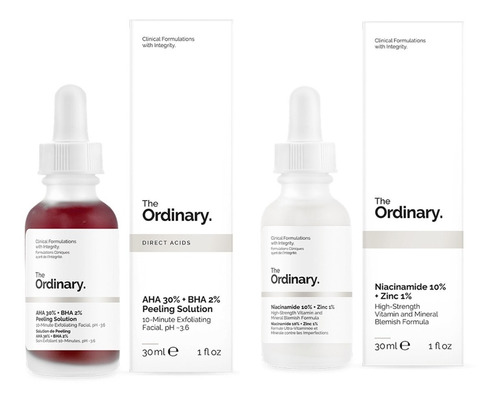 Kit Aha 30% Bha 2% Peeling Solution+ Niacinamide 10% Zinc 1%