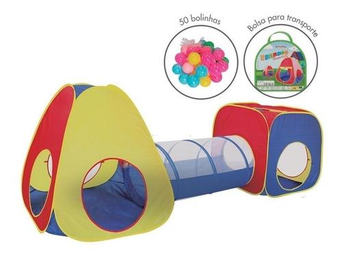 Toca Cabana Infantil 3 Em 1 Com Tunel Barraca Com Bolinhas