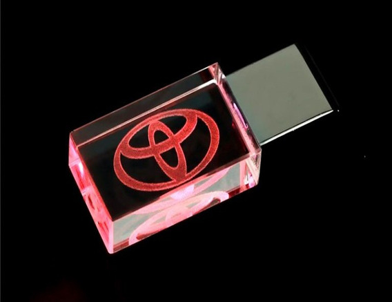 Pen Drive 16gb Cristal Led Toyota Vermelho + Caixa Portátil