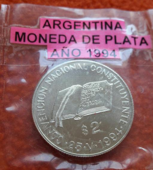 Moneda De Plata De 2 Pesos Año 1994 Constituyente
