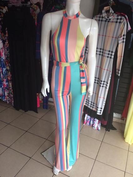 Sexy Jumpsuit Rayado Cinturon Escote Pantalon Fiesta Elegant