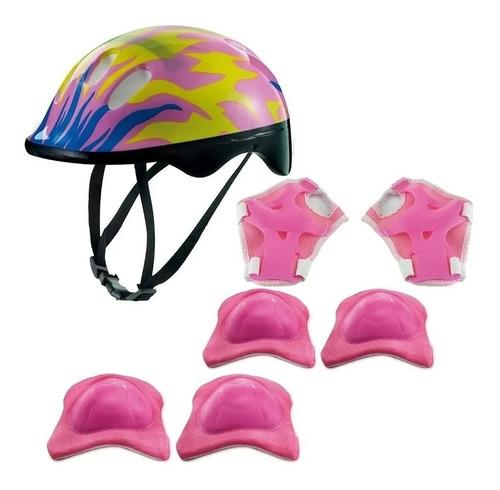 Imagem 1 de 6 de Kit Proteção Capacete Cotoveleira Joelheira Infantil Rosa