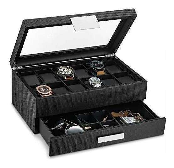 Caja De Relojes Con Cajón Para Hombre, Organizador De Reloj