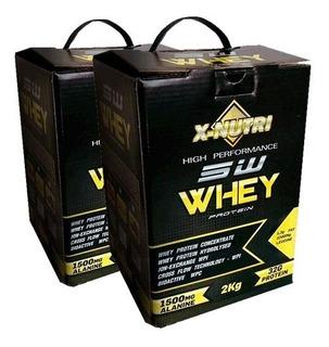 Kit 4 Kilos 5w Whey Protein X-nutri Morango - 2 Caixas