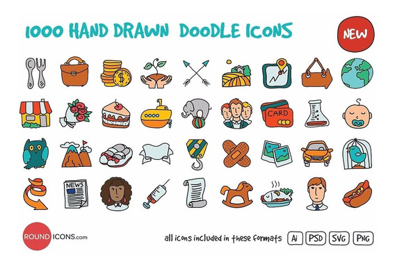 1000 Vectores Dibujados A Mano Doodle Ai Png Psd