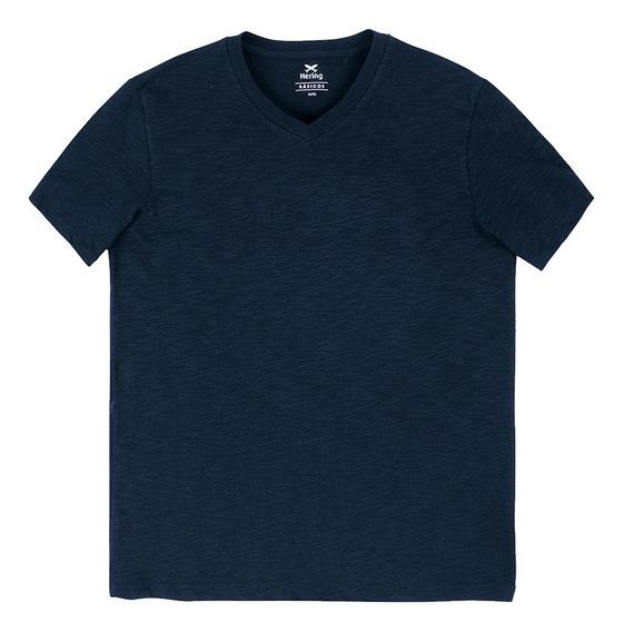 Camiseta Básica Masculina Manga Curta Com Decote V Hering