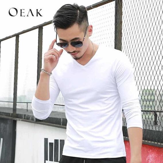 Camiseta Gola V Branca Com Elastano Verão