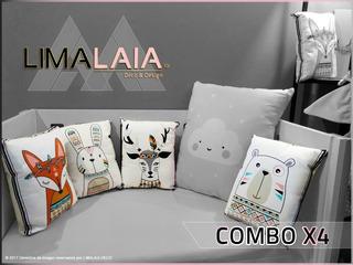 Almohadónes Nórdicos Estampado Animales (pack X4) Deco/bosque/bebé - Pijamada/souvenirs