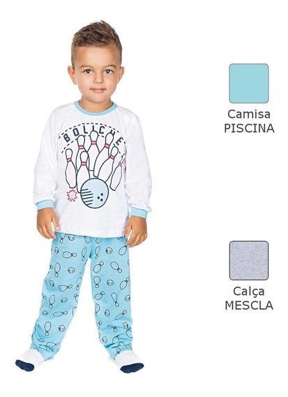 Pijama Infantil Menino Meia Malha Longo De Inverno Boliche