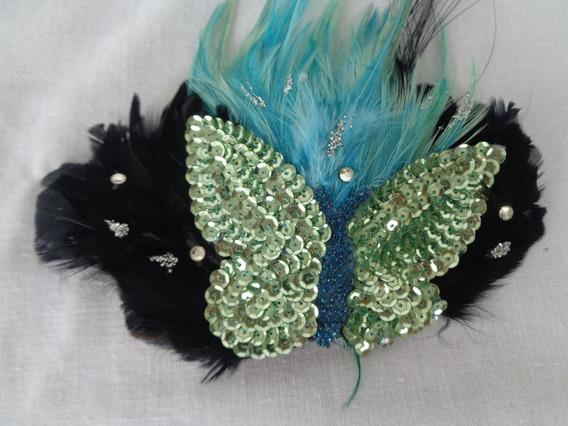 Aplique Cabelo Carnaval Pluma Borboleta Vintage