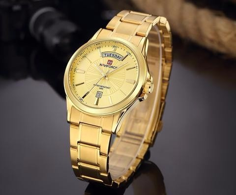 Relógio Dourado Metal Naviforce Ouro Clássico +frete Grátis!