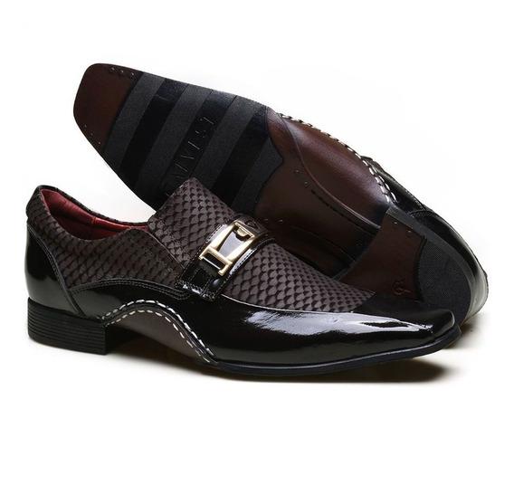 Sapato Social Masculino Calvest Em Couro Texturizado