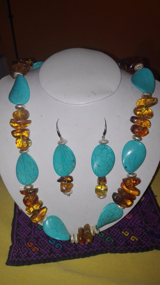 Collar Y Aretes De Ámbar De Chiapas Con Turquesa