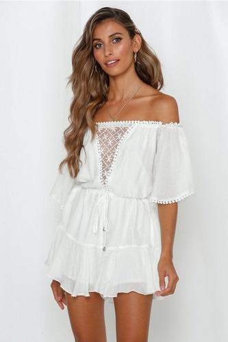 Vestido Enterizo Blanco Con Encaje Talla S Nuevo Importado
