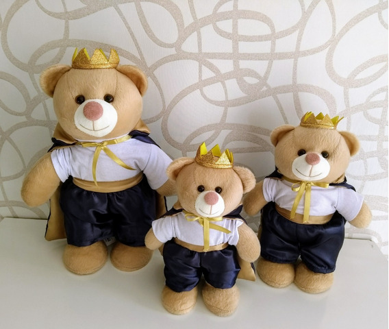 Trio Ursos Ursinho De Pelúcia Em Pé Nichos 20cm 25cm 30cm