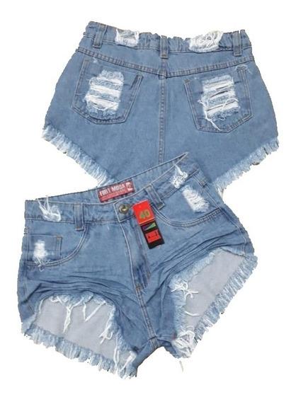 Shorts Bermuda Jeans Feminino Destroyed Cintura Alta Anitta