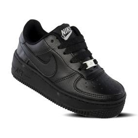 Tenis Nike Force One Niño Infantil Negro 18 Al 21