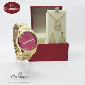 Relógio Feminino Champion Dourado Cn27590j Original + Brinde