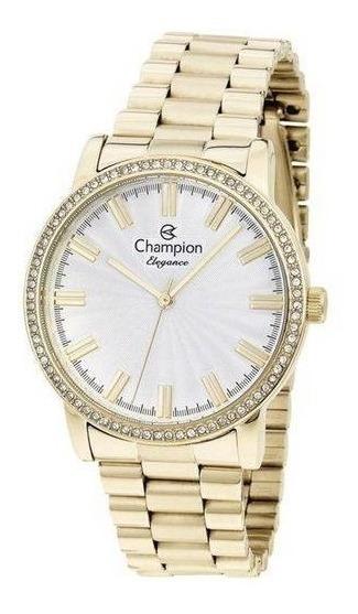Relogio Champion Dourado Cn25798h Original Com Garantia