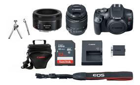 Canon Eos Rebel T7 C/ 18-55mm + 50mm Stm+ 32gb+ Bolsa+ Tripe