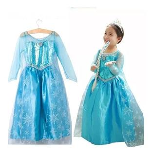 Vestido De Frozen , Talle S,m Y L,+ Trenza, Cetro Y Corona