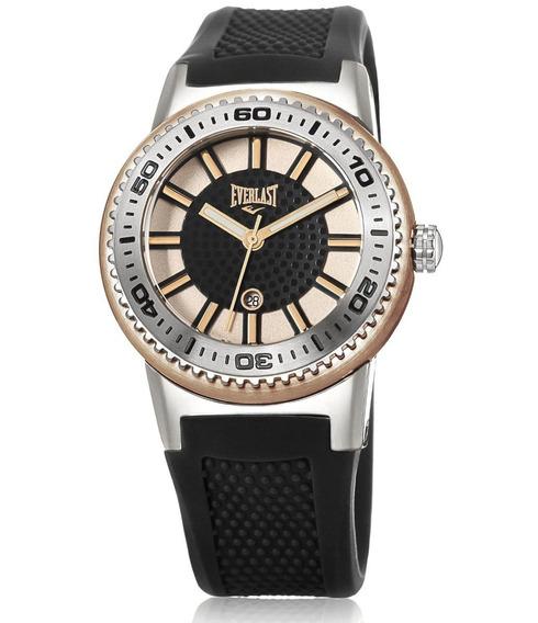 Relógio Pulso Everlast Feminino Aço Silicone Preto E455