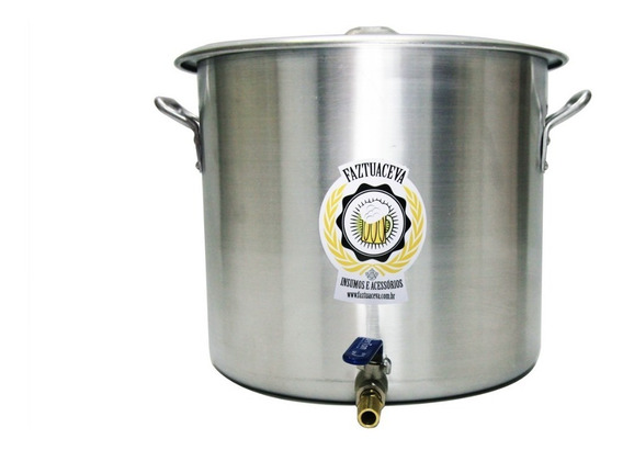 Caldeirão Panela Cervejeira Alumínio Com Registro 38,5l-38cm