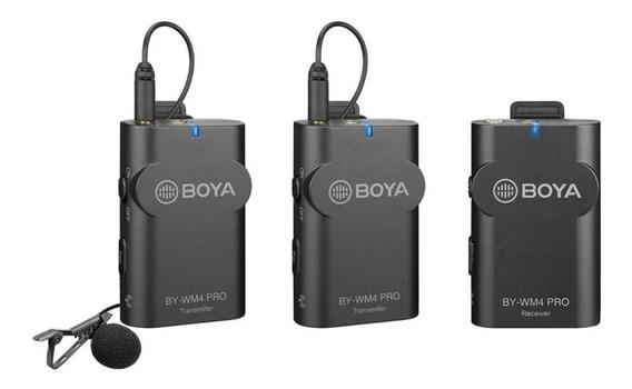 Microfone Lapela Duplo By-wm4 Pro K2 S/fio P/câmera /celular