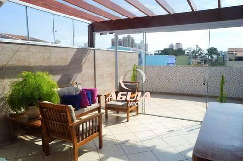 Cobertura Totalmente Mobiliada Com 2 Dormitórios À Venda, 70m² + 70m² Por R$ 563.900 - Vila Pires - Santo André/sp - Co0968