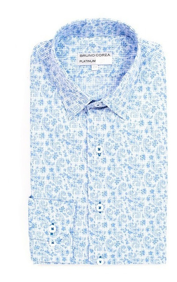 Camisa Slim Fit Para Caballero Bruno Corza Color Azul