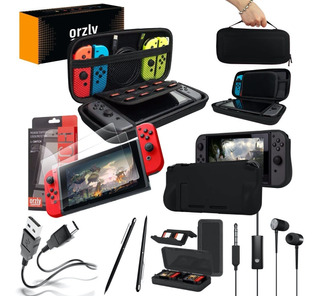 Funda Nintendo Switch Kit 8-1 Orzly Estuche + 2 Vidrio Templado Orzly + Usb-c + Funda Grip + Auriculares + Porta Juegos