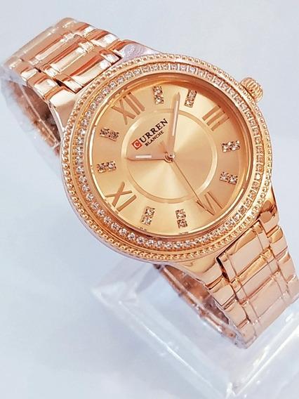 Relógio Feminino Medio Rose Dourado Com Pedras Joia Linda.