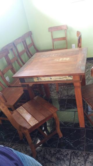 Conjunto De Mesa Com 4 Cadeira Em Madeira De Demolição