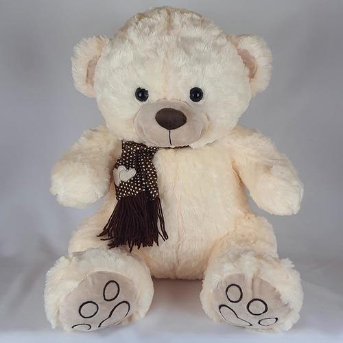 Imagem 1 de 3 de Urso De Pelúcia 60cm Creme Cachecol Coração