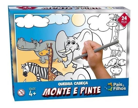 Quebra Cabeça Monte E Pinte 24 Pç Animais Safari Pais Filhos