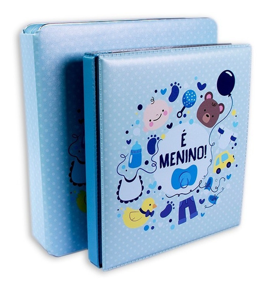Álbum C/ C E Diário Do Bebê Azul - P/ 80 Fotos 20x25