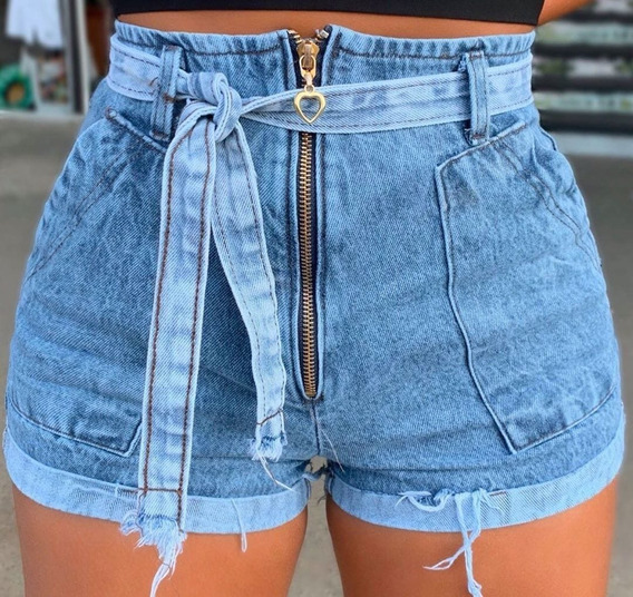 Short Feminino Jeans Ziper Cinto Cintura Alta Roupa Feminina