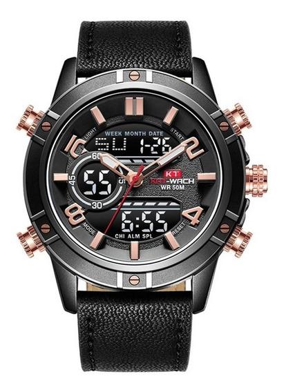 Relógio Kat-wach Masculino Anadigi Kt1807 Preto E Rosé
