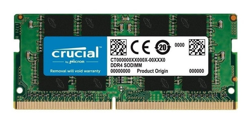 Memoria Sodimm Crucial Ddr4 8gb 2666mhz Notebook 1.2v Cl19