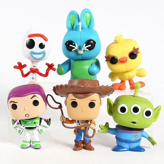 Kit 6 Bonecos Woody Buzz Lightyear Forky Bunny Ducky Alien
