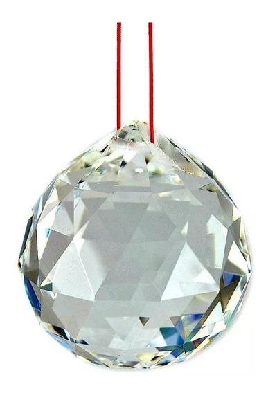 10 Bola Esfera Multifacetada Cristal K9 40mm Com Fio Vermelh